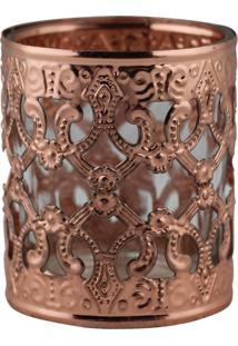 Castiçal Decorando Com Classede Metal E Vidro Bronze 6Cmx7Cm
