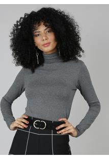 Blusa Feminina Com Gola Alta Cinza Escuro
