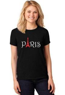 Camiseta T-Shirt Paris Baby Look Feminina - Feminino-Preto