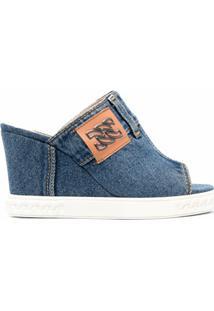 Casadei Sandália Jeans Com Plataforma 50Mm - Azul