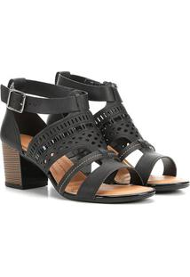 Sandália Dakota Salto Bloco Tiras Laser Feminina - Feminino-Preto