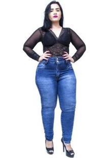 Calça Jeans Latitude Plus Size Skinny Dioceny Feminina - Feminino-Azul