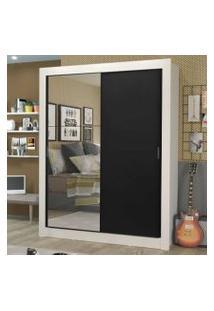 Guarda-Roupa Solteiro Madesa Dallas Plus 2 Portas De Correr Com Espelho 4 Gavetas Branco/Preto Cor:Branco/Preto