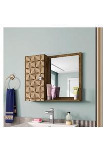 Espelheira P/ Banheiro Gênova Móveis Bechara 1 Porta Madeira Rústica