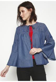 Casaqueto Jeans Com Bordado- Azul- Sommersommer