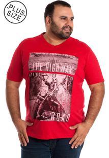 Camiseta Konciny Decote V Plus Size Vermelha