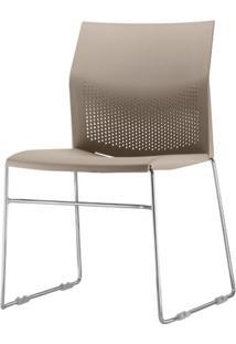 Cadeira Connect Assento Bege Base Fixa Cromada - 53768 - Sun House