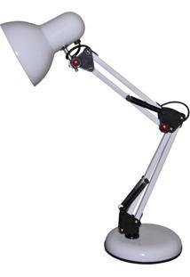 Luminaria De Mesa Articulavel Com Regulagem Abajur Articulado Branco