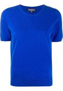 N.Peal Blusa Mangas Curtas De Cashmere - Azul
