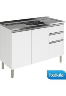 Módulo Cozinha Gabinete Com Inox Clarice 2 Portas E 3 Gavetas - Ig3G3-120Pia - Branco - Aço - Itatiaia