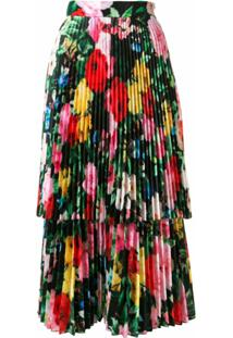 Richard Quinn Vestido Midi Com Sobreposição Floral - Preto
