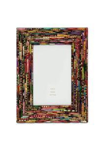 Porta Retrato Mdf - Pedaços Multicoloridos - Vermelho