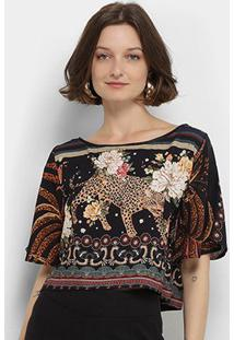 Blusa Farm T-Shirt Jardim De Onça Feminina - Feminino-Estampado