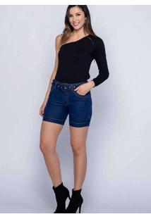 Bermuda C/ Cinto Almaria Plus Size Shyros Jeans Az