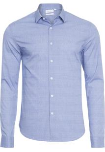Camisa Masculina Slim Cannes Micro Textura - Azul