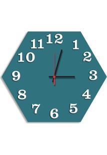 Relógio De Parede Decorativo Premium Hexagonal Ágata Com Números Em Relevo Médio