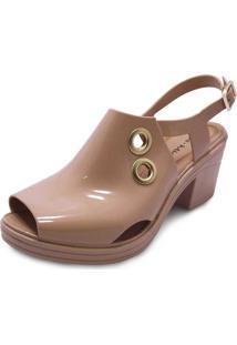 Sandália Boot Sola Baixa Miss Miss Caqui
