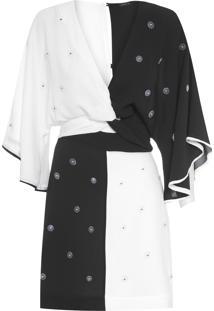 Vestido Curto Bicolor Botões - Preto E Branco