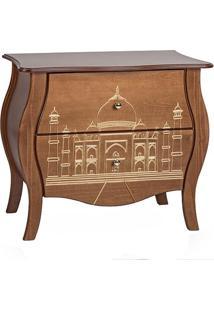 Cômoda Bombê Entalhada 2 Gavetas Plana Taj Mahal Imbuia E Dourado