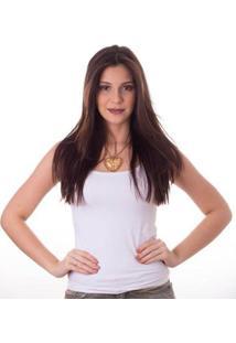Regata Ficalinda Decote Redondo Feminina - Feminino-Branco