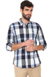 Camisa Sergio K Slim Xadrez Azul/Cinza