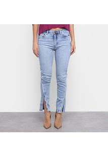 Calça Jeans Carmim Recorte Feminina - Feminino-Azul Claro