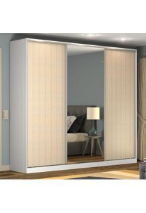 Guarda-Roupa Casal 3 Portas Correr 1 Espelho 100% Mdf Rc3002 Branco/Noce - Nova Mobile