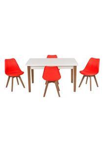 Conjunto Mesa De Jantar Luiza 135Cm Branca Com 4 Cadeiras Leda - Vermelho