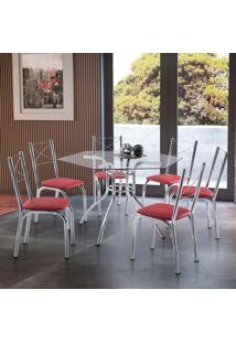 Conjunto De Mesa De Cozinha Com 6 Cadeiras Hilux Vermelho