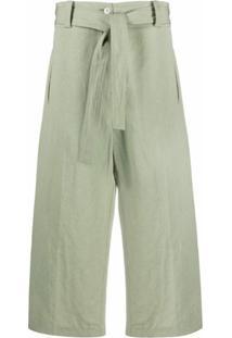 Moncler Genius 1952 Calça Pantacourt Com Amarração No Cós - Verde