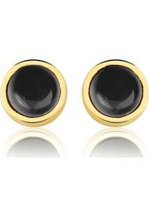 Brinco Toque De Joia Círculo Único Quartzo Negro - Feminino-Dourado