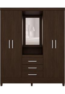 Guarda-Roupa Casal Com Espelho Pérsia 4 Pt 3 Gv Ébano
