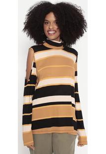 Blusa Listrada - Marrom Claro & Preta - Wool Linewool Line