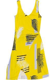 Vestido Estampado Curto Com Decote V Amarelo
