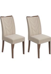 Conjunto De Cadeiras De Jantar 2 Atacama Linho Imbuia E Creme