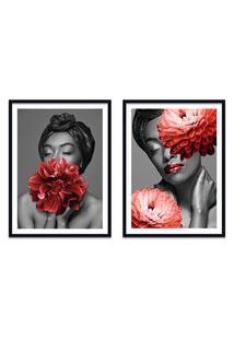 Quadro 67X100Cm Brenna Mulher Com Flores Vermelha Nórdico Moldura Preta Com Vidro