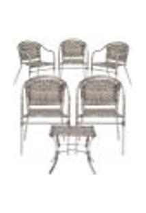 Jogo Cadeiras 5Un E Mesa De Centro Floripa Para Edicula Jardim Area Varanda Descanso - Capuccino