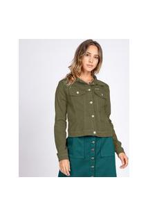 Jaqueta Jeans Tipo Moletom Bloom Classica Verde Oliva