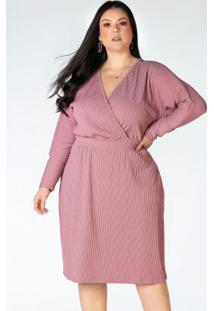 Vestido Canelado Plus Size Rosê