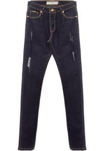 Calça Jeans Destiny Aleatory Feminina - Feminino-Azul