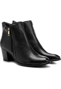 Bota Couro Cano Curto Shoestock Zíper - Feminino-Preto