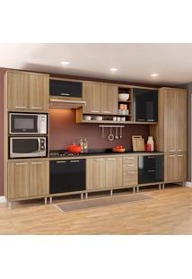 Cozinha Completa Com Tampo 17 Portas 5 Gavetas 5833 Argila/Preto - Multimóveis