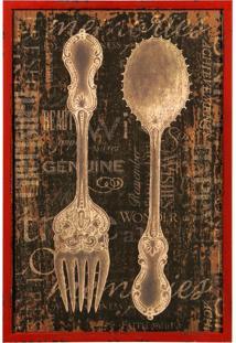 Quadro Decorativo De Parede Cutlery Com Moldura De Madeira