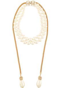 Dolce & Gabbana Colar Com Aplicações De Strass E Esferas Peroladas - Branco
