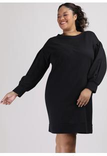 Vestido De Moletom Feminino Plus Size Mindset Curto Manga Bufante Preto
