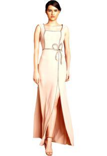 Vestido Izadora Lima Brand Longo Com Renda E Cinto Preto Em Veludo Nude