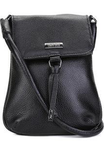 Bolsa Shoulder Bag Couro Santa Lolla Personalizada Logo - Feminino-Preto