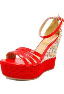 Sandália Anabella Debelly Calçados Couro Vermelha