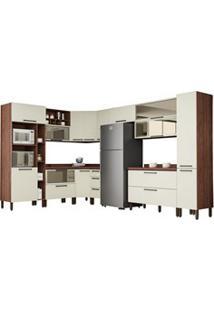 Cozinha Modulada Completa 15 Peças Viv Concept C12 Off White/Nogueira