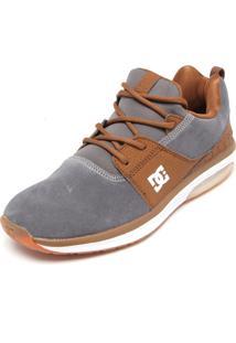 Tênis Couro Dc Shoes Heathrow Ia Cinza/Caramelo